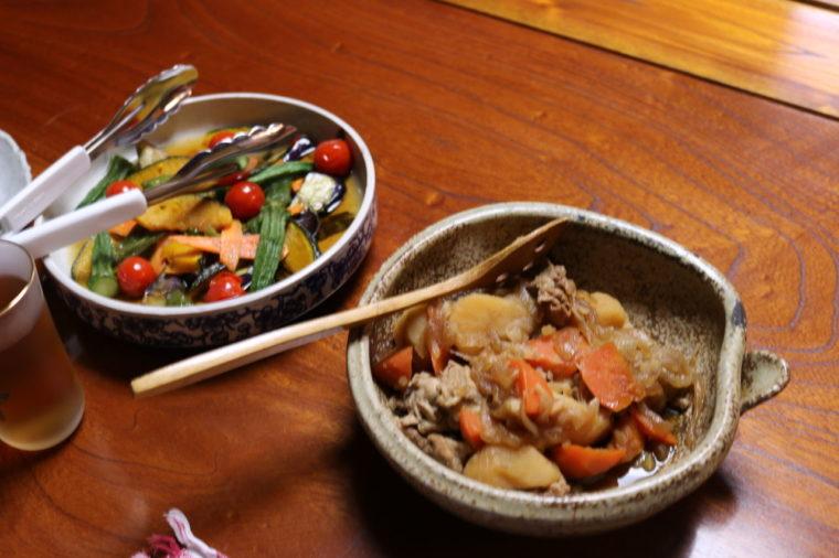 野菜たっぷりの民泊の夕食
