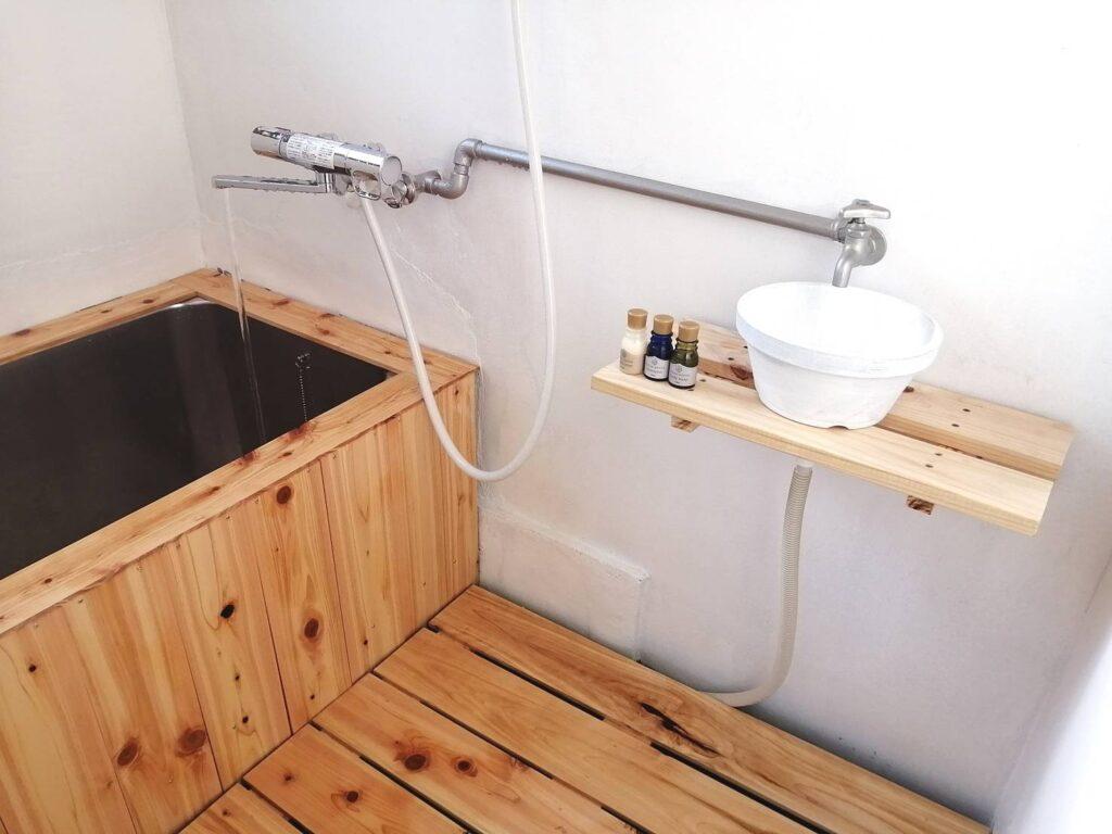お風呂DIY 洗面台DIY ひのき風呂